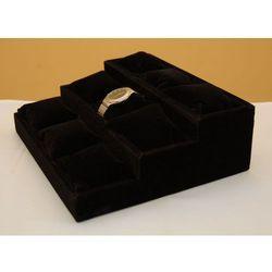 Trzy-poziomowy, zamszowy, czarny ekspozytor z poduszkami do prezentacji zegarków itp.