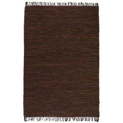 Ręcznie tkany dywanik Chindi, skórzany, 190x280 cm, brązowy