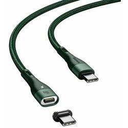 Baseus Zinc magnetyczny kabel USB Typ C - USB Typ C Power Delivery 100 W 1,5 m zielony (CATXC-Q06)