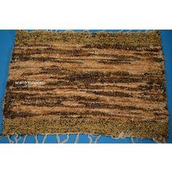 Chodnik bawełniany (wycieraczka) ręcznie tkany jasno-ciemny brąz i ecru 65x50