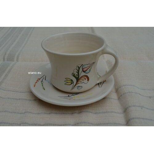 Filiżanki, Garncarstwo - Ceramika bolimowska - filiżanka do kawy ze spodkiem (dk-2)