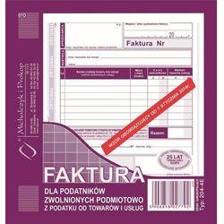 Faktura dla podat. zwol. podmiot. Michalczyk&Prokop 204-4E - A5 (oryginał+kopia)