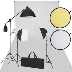 vidaXL Zestaw studio, białe tło, 3 lampy i reflektor Darmowa wysyłka i zwroty