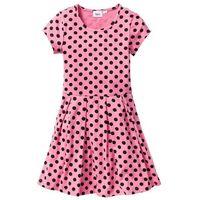Sukienki dziecięce, Sukienka shirtowa w groszki bonprix jaskrawy jasnoróżowy - czarny w groszki