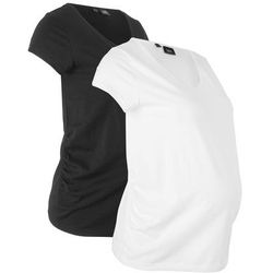 Shirt ciążowy basic (2 szt.), krótki rękaw bonprix czarny + biały