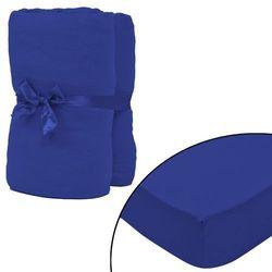vidaXL Prześcieradło z gumką, dżersej bawełniany, niebieskie, 2 szt. Darmowa wysyłka i zwroty