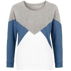 Bluza dresowa bonprix szaro-niebiesko-biel wełnym
