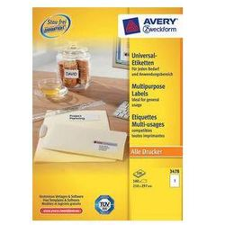 Etykiety uniwersalne AVERY ZWECKFORM trwałe 210 x 297 mm, 1 etykieta/A4 - X06546