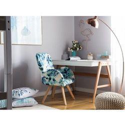 Fotel tapicerowany niebieski w kwiaty BJARN