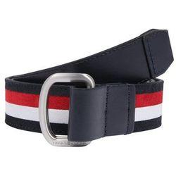 TOMMY HILFIGER Pasek 'Urban D-Ring Intarsia' ciemny niebieski / czerwony / biały