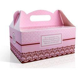 Pudełka na ciasto komunijne z podziękowaniem różowe PUDCS6R / 1szt rabat 7%