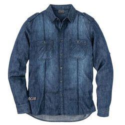 """Koszula dżinsowa z długim rękawem Slim Fit bonprix ciemnoniebieski """"stone used"""""""