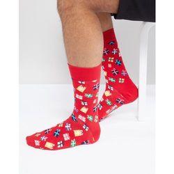 Happy Socks Christmas Present Print Socks - Red