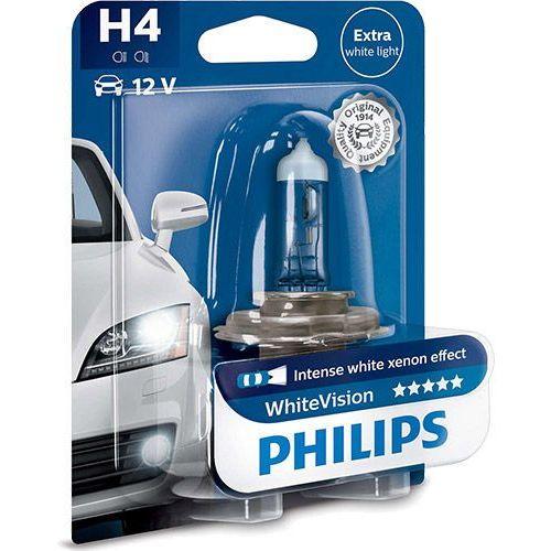 Pozostałe oświetlenie samochodu, Żarówka Halogenowa Philips® H4 WhiteVision | 12V 60/55W | Blister 1 szt.