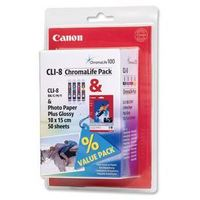 Papiery i folie do drukarek, oryginalny multipack Canon CLI-8CMY + papier photo 10x15 / 50 arkuszy