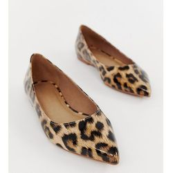 ASOS DESIGN Latch pointed ballet flats in leopard print - Multi