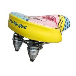 Siodełko rowerowe Pin Up Girl Lady - niebiesko/żółte