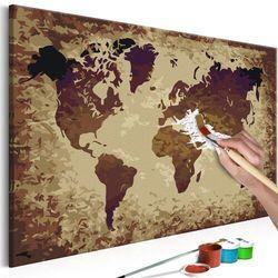 Obraz do samodzielnego malowania - mapa świata (brązy) marki Artgeist