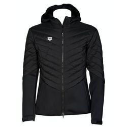 Arena kurtka unisex hooded f/z half-quilted jacket black, kolor: black, rozmiar: xl