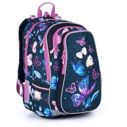Topgal Pojemny plecak szkolny w motyle i kwiaty lynn 21007 g (8592571013937)