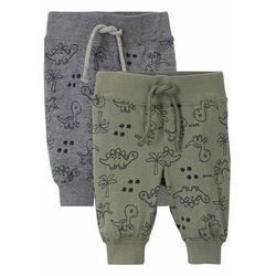 Spodnie niemowlęce shirtowe (2 szt.), bawełna organiczna oliwkowo-szary melanż wzorzysty marki Bonprix