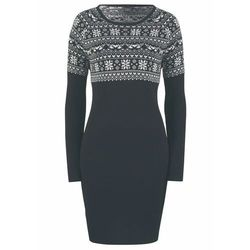 Sukienka dzianinowa w żakardowy wzór bonprix czarny, w 8 rozmiarach