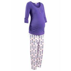 Piżama do karmienia piersią, bawełna organiczna, (2 części) lila-biały z nadrukiem marki Bonprix