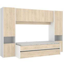 Wysuwane łóżko selena z zabudową – 90 × 190 cm – kolor: dębowy i biały marki Vente-unique