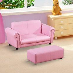 Aosom Kanapa sofa dla dziewczynki z hokerem