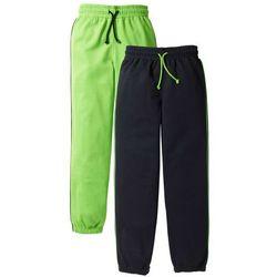 Spodnie dresowe (2 pary) bonprix jaskrawy zielony + czarny