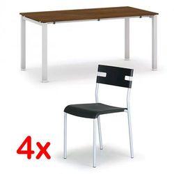 Stół konferencyjny AIR 1600 x 800 mm, orzech + 4x krzesło LINDY GRATIS, czarny