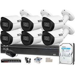 Monitoring cyfrowy IP samodzielny montaż Rejestrator BCS-NVR0801X5ME-II 6x Kamera BCS-TIP3501IR-E-V 1TB