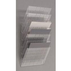 Uchwyt ścienny na prospekty, format poziomy, 6 x DIN A4, opak. 2 szt., przezrocz