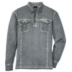 Shirt polo z długim rękawem, z efektem wytarcia bonprix dymny szary
