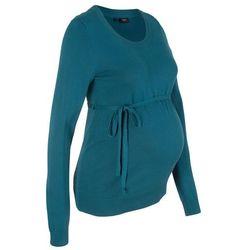 Sweter ciążowy z 100% bawełny, z wiązanym paskiem bonprix niebieskozielony morski