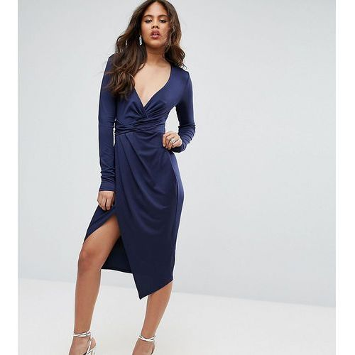Suknie i sukienki, ASOS TALL Long Sleeve Wrap Front Midi Dress - Navy