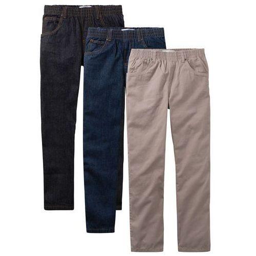 """Spodnie dziecięce, Luźniejsze spodnie chłopięce z gumką w talii (3 pary w opak.) bonprix czarny """"stone"""" + ciemnoniebieski """"stone"""" + brunatny"""
