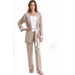 Damska bambusowa piżama CARINA ze szlafrokiem L Beżowy