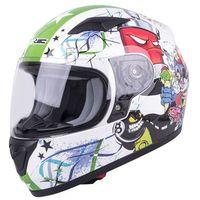 Kaski motocyklowe, Dziecięcy kask motocyklowy integralny W-TEC FS-815G Tagger Green, Biało-zielony z grafiką, M (49-50)