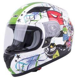Dziecięcy kask motocyklowy integralny W-TEC FS-815G Tagger Green, Biało-zielony z grafiką, S (47-48)