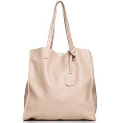 SB600 Elegancka skórzana torebka - beżowa