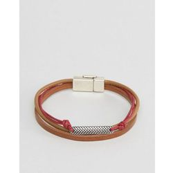 ASOS Bracelet In Brown And Red With Burnished Clasp - Brown
