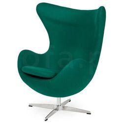 Fotel EGG CLASSIC szmaragdowy zielony.41 - wełna, podstawa chromowana