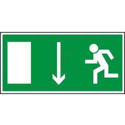 Znak Kierunek ewakuacji do wyjścia strz. w dół