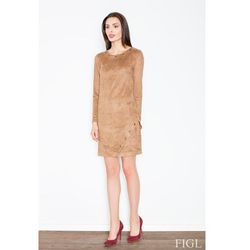 Brązowa Casualowa Sukienka z Imitacji Zamszu z Metalowymi Kółkami
