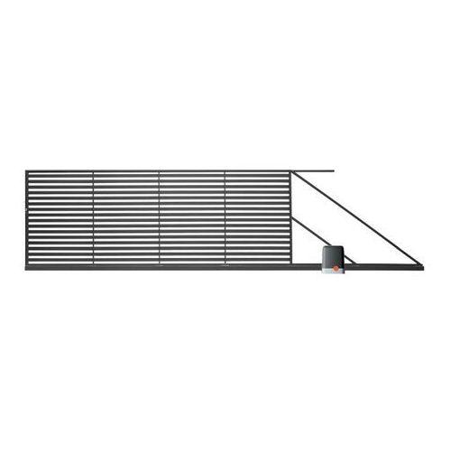 Bramy, Brama przesuwna z automatem Polbram Steel Group Brava 400 x 150 cm prawa