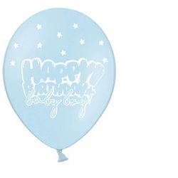 "Balony ""Happy Birthday - Baby boy"", pastel niebieski, 12"", STRONG, 6 szt"