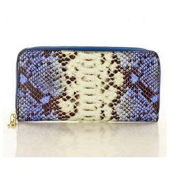 Modny duży portfel z naturalnej skóry Marco Mazzini P115E Blue Serpente - Mazzini