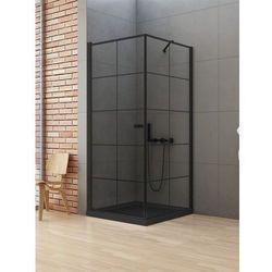 New Trendy New Soleo Black kabina kwadratowa 90 lewa x 90 cm wspornik skośny wys. 195 cm, szkło czyste 6 mm D-0285A/D-0120B