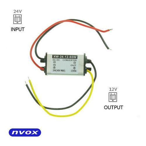 Przetwornice samochodowe, NVOX MANOSTAT 5A Przetwornica reduktor napięcia z 24V na 12V o mocy 60W